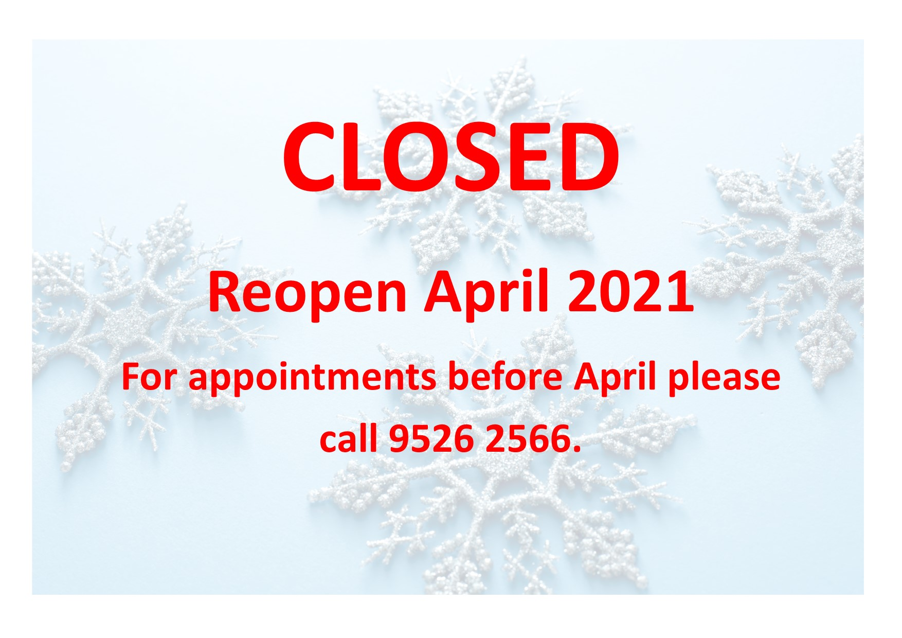 Closed till april